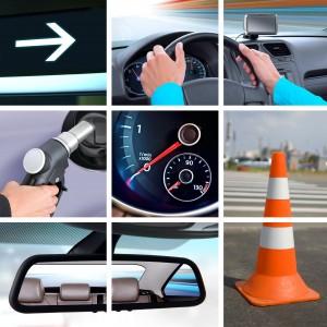 tableau de bord, rétroviseur, plot de sécurité, indicateur de vitesse...